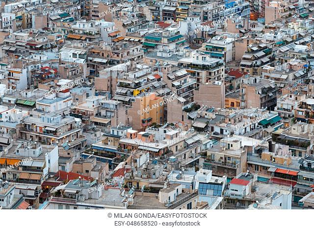 Athens, Greece - February 4, 2019: Residential area of central Athens as seen from Lycabettus hill