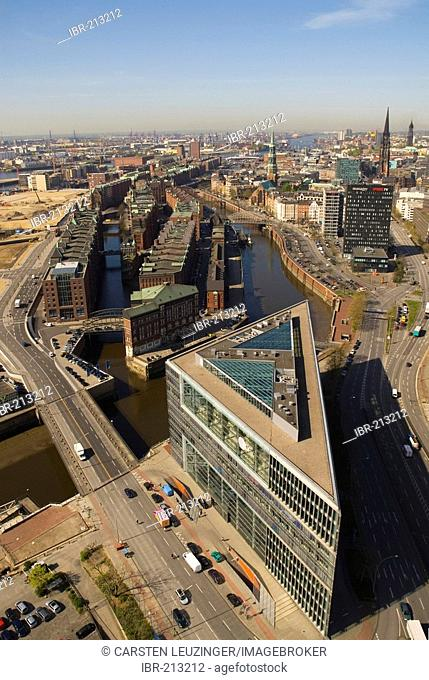 Arial view over Deichtorcenter building and the old warehouse district Hamburger Speicherstadt, Hamburg, Germany
