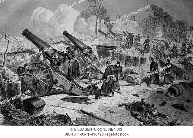 Prussian siege battery outside paris, illustrated war history, german - french war 1870-1871