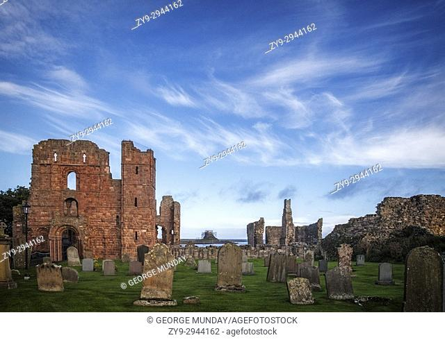 The monastery of Lindisfarne, founded circa 634 by the Irish monk Saint Aidan. The ruins of the church, which was built by about 1150, marks the spot where