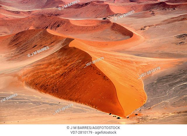 Aerial photography of Namib desert dunes. Dune is a hill of loose sand carried for the wind. Namibia