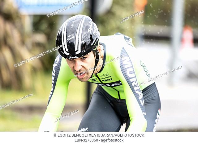 Mikel Iturria Segurola at Zumarraga, at the first stage of Itzulia, Basque Country Tour. Cycling Time Trial race