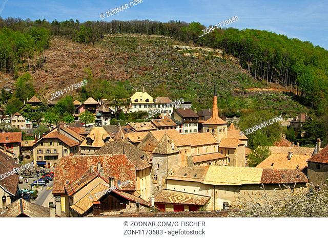 Romainmotier, Blick auf das Ortszentrum mit der Stiftskirche der romanischen Abtei, Waldrodung hinten, Waadt, Schweiz / Romainmotier