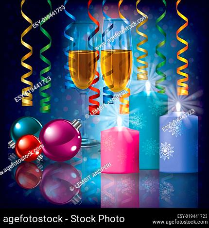 Christmas greeting with candles and champagne