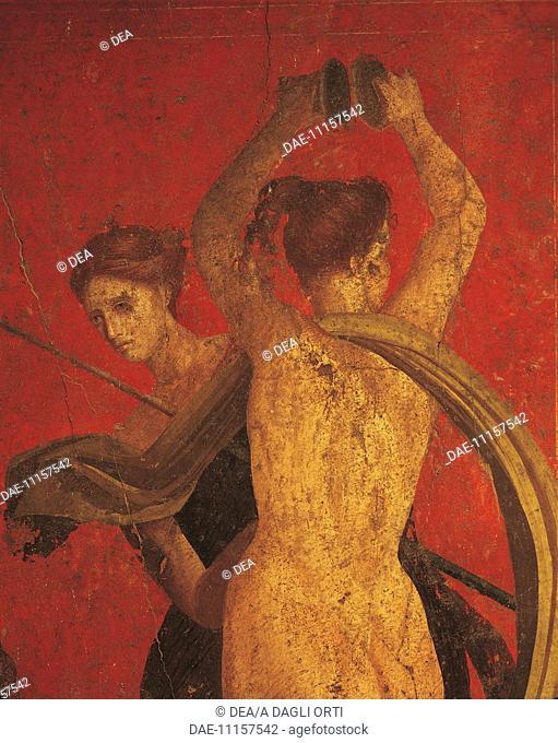Italy - Campania Region - Pompeii. 1st century b.C. - Villa of the Mysteries, fresco detail