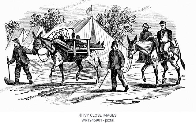 This 1866 engraving shows the method of carrying sick and wounded men on mules during the early years of the U.S. Civil War (1861-1865)