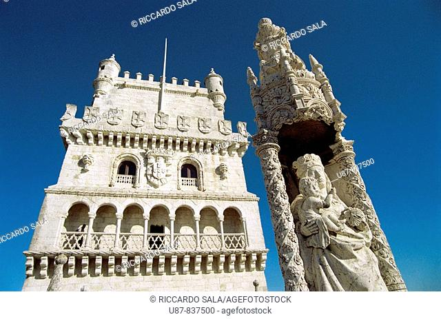 Portugal Lisbon, Belem Tower, Detail of the Virgin Mary Statue and Tower