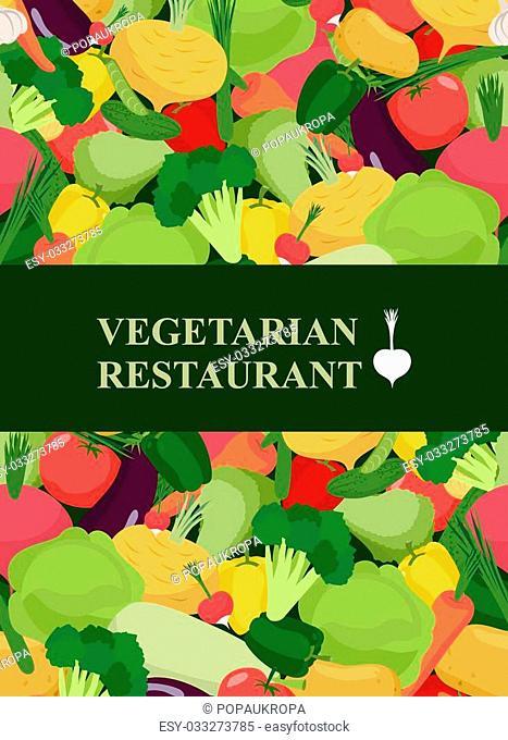 Fresh vegetables background. Concept design template to menu vegetarian restaurant and cafe . Vector illustration