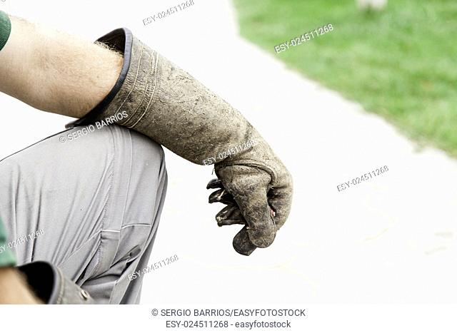 Falconry glove for birds, detail of a bird trainer, people in Spain