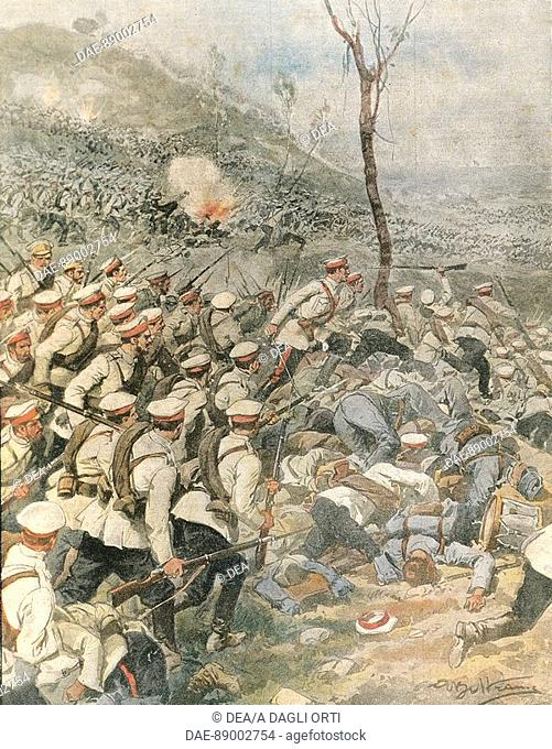 Russian army troops invading Prussia, 1914. By Achille Beltrame (1871-1945), illustration from La Domenica del Corriere