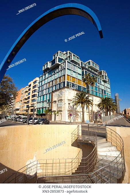 Luxury Apartments, on background Panoramic Lift a Glass lift or scenic Lift to the top of Conception mount or Torres Park, Cartagena City, Murcia Region