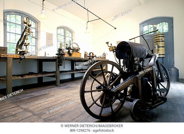 Daimler motorcycle in the former workshop of Gottlieb Daimler, memorial site in the Kurpark in Bad Cannstatt, Museum, Stuttgart, bathen-Wuerttemberg, Germany