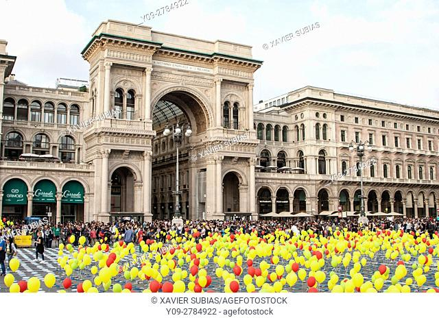 Vittorio Emanuele II Gallery, Event In Name of Africa organitzed by CEFA, Duomo Square, Milan, Lombardy, Italy
