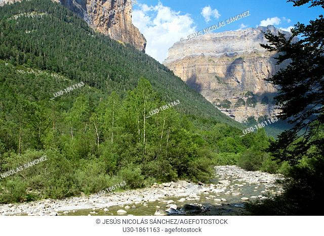 Arazas river and the famous Ordesa Valley, declarated World Heritage by UNESCO, and belonging to Ordesa y Monte Perdido National Park  Pyrenees  Torla  Huesca...