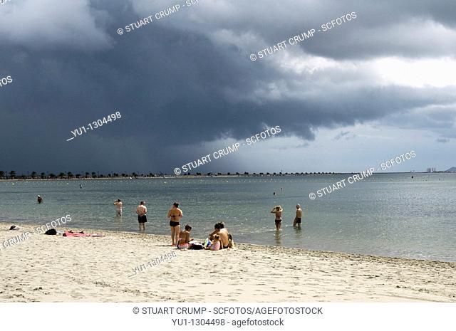 Storm clouds over the Mar Menor lagoon at the resort of Lo Pagan, Mar Menor, Costa Calida, South Eastern Spain