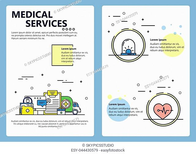Medical services web banner, poster, flyer, leaflet, brochure template. Vector modern thin line art flat style design illustration