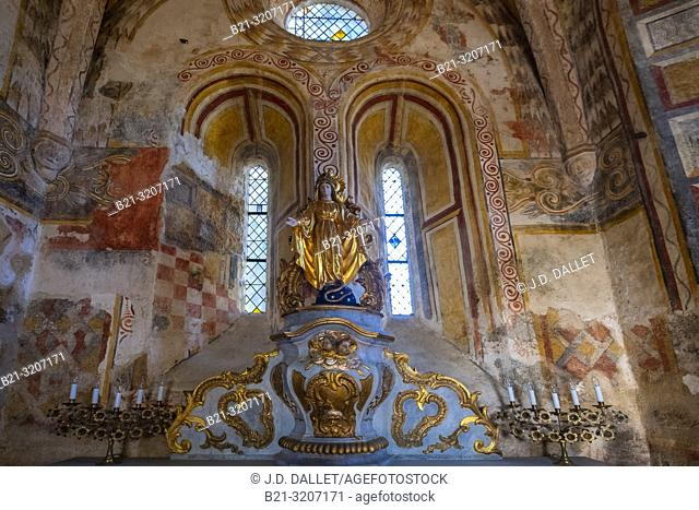 France, Auvergne, Cantal, 16th Century Sainte Croix Capel at the church of Cazzaniouze
