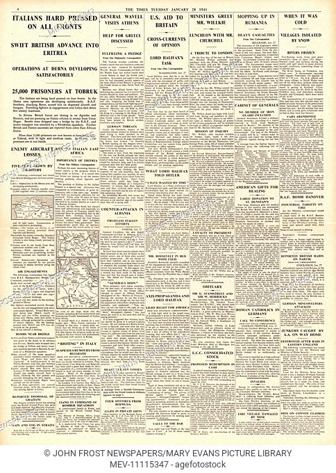 1941 page 4 The Times Italian Forces pressed on all fronts