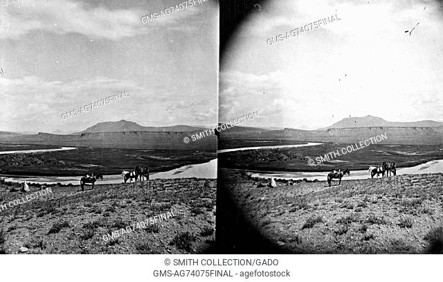 Stereograph of the view up the Muddy Creek from the Colorado River, Grand County, Colorado, 1874. Image courtesy USGS