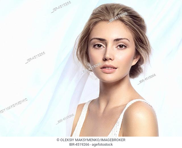Young beautiful woman face beauty portrait with clean natural look