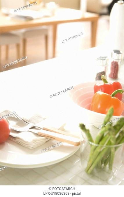 Fresh vegetables on kitchen counter