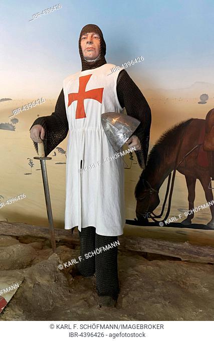 Crusader in chain mail, figure in the Abbey Museum Koksijde, Abbey Ten Duinen, Koksijde, West Flanders, Belgium
