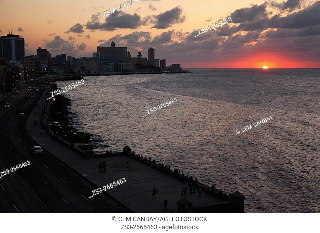 View to the sunset near the hotel zone at Vedado district from the Center Havana, La Habana, Cuba, Central America
