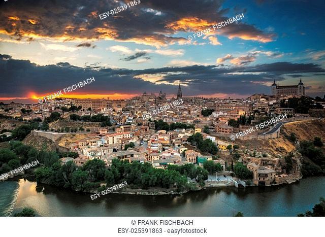 Panoramic view of Toledo at dusk, Castile-La Mancha, Spain