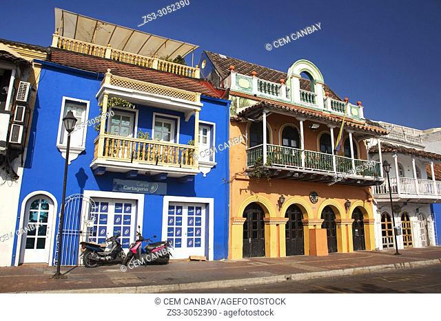 View to the colonial buildings and balconies covered with flowers at the historic center, Cartagena de Indias, Bolivar, Colombia, South America