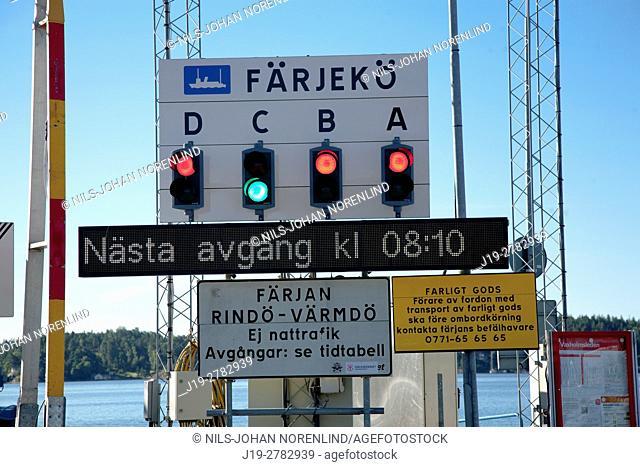 Vaxholm ferry sign, archipelago Stockholm, Sweden