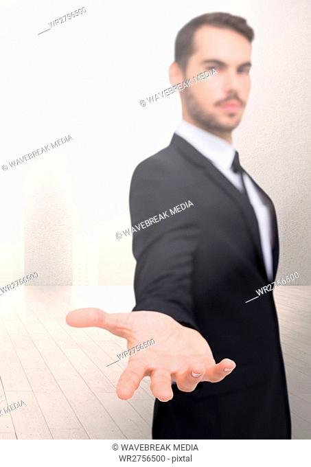 Open palm businessman hand