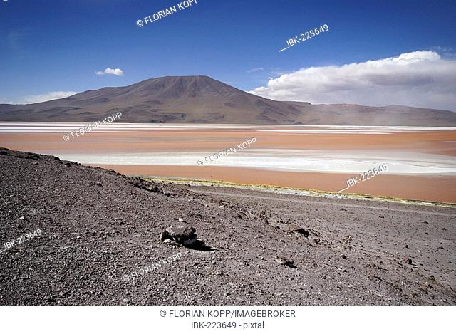 Laguna Colorada and vulcan in the Uyuni Highlands, Bolivia