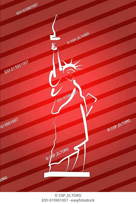 Statue Of Liberty, hand drawing illustration