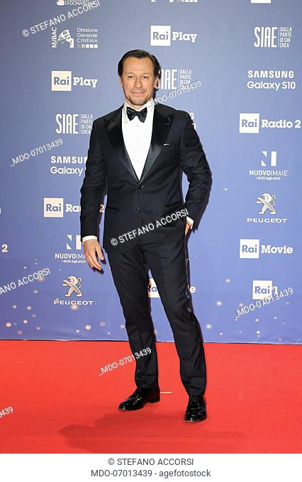 Italian actor Stefano Accorsi during the red carpet of the 64th edition of the David di Donatello. Rome (Italy), March 27th, 2019