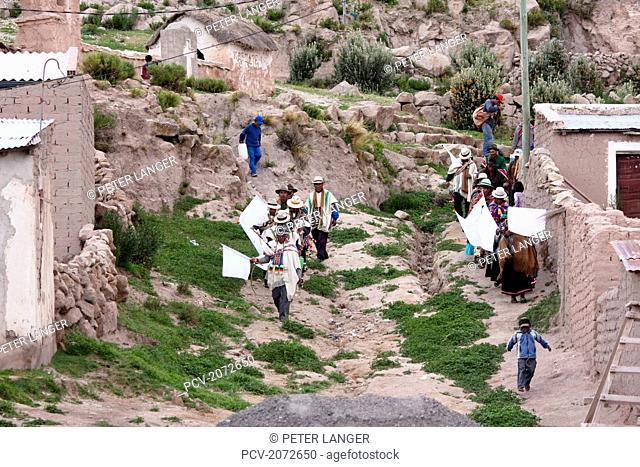 Aymara Elders In A Procession During Carnival, Curahuara De Carangas, Oruro, Bolivia