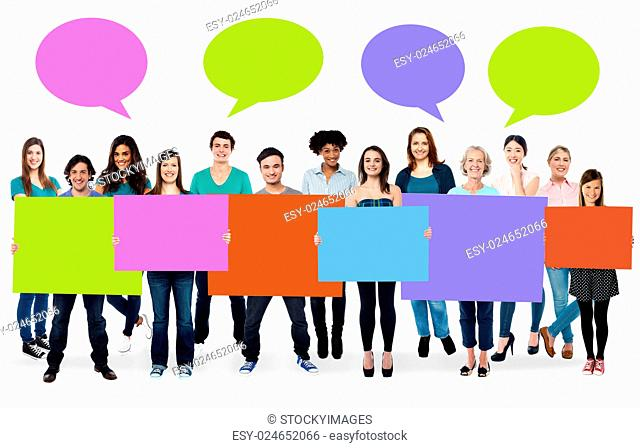 Ad concept. Colorful boards and speech bubbles