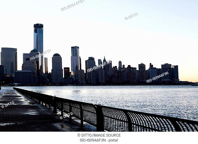 Manhattan waterfront and skyline at dusk, New York City, USA