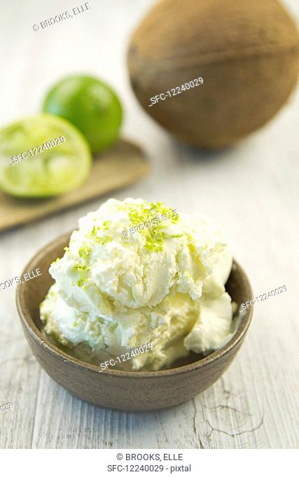 Lime and coconut ice cream