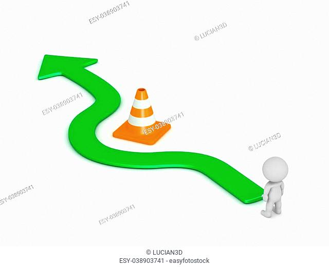 A 3D character and a green arrow going around an orange road cone obstacle. Isolated on white background