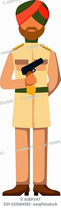 Indian troop armed forces man with weapon illustration. Indian army in dark-skinned Indian troop soldier in hat. Indian troop man in uniform with weapon...