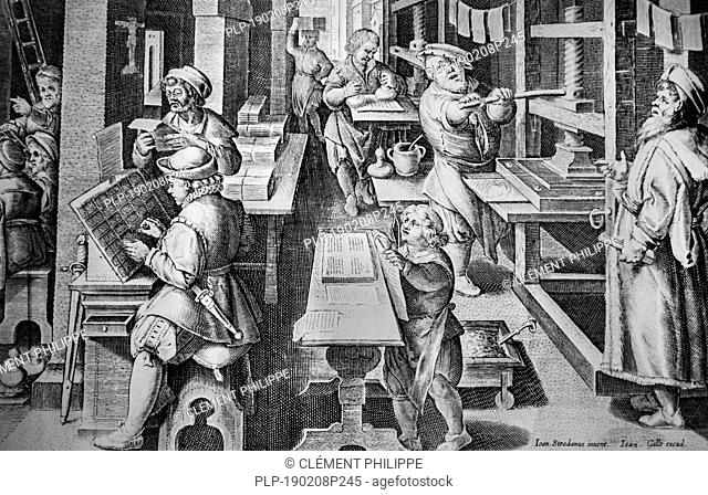 Impressio Librorum / Book Printing, 16th century engraving by Theodoor Galle after a drawing by Johannes Stradanus, c. 1550