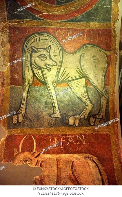 Mythical medieval animal. A 12th Century Romanesque fresco from the Church of Saint Joan Boi, al de Boi, Spain. National Art Museum of Catalonia, Barcelona
