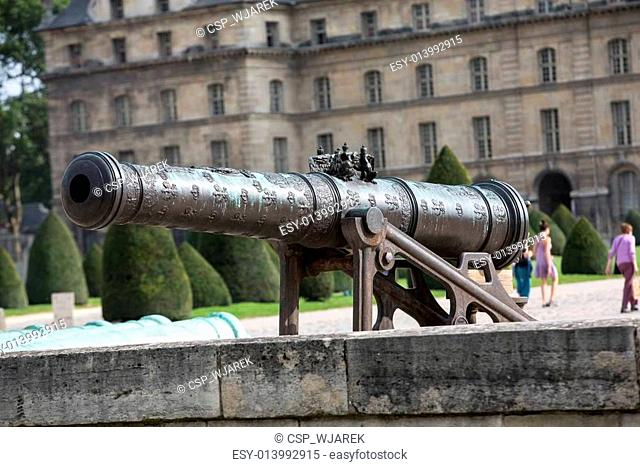 Historic cannon in Les Invalides museum in Paris, France