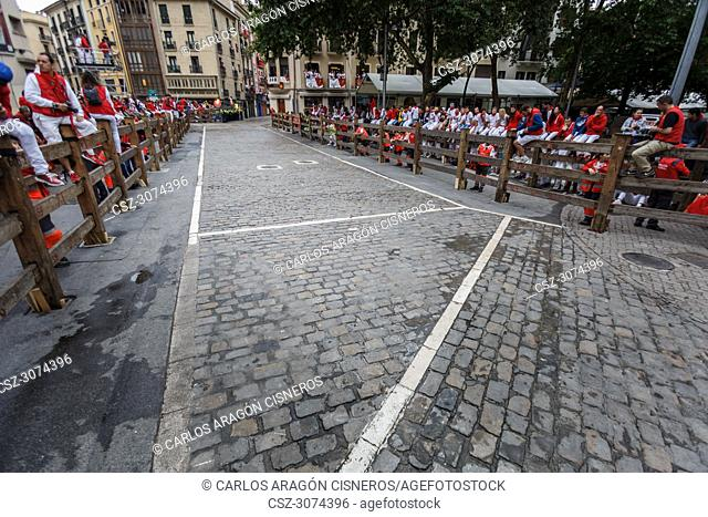 PAMPLONA, SPAIN - JULY 11, 2017: Street empty before the bull and people run on the street, encierro, during the festival of San Fermin