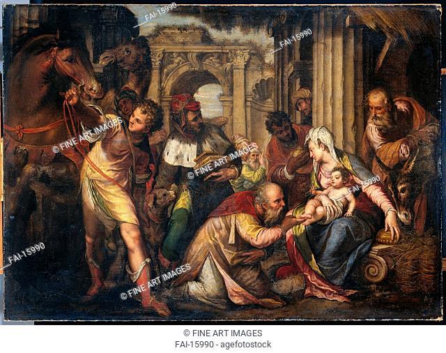 The Adoration of the Magi. Farinati, Paolo (1524-1606). Oil on canvas. Renaissance. 1590. Rijksmuseum, Amsterdam. 115x161. Painting
