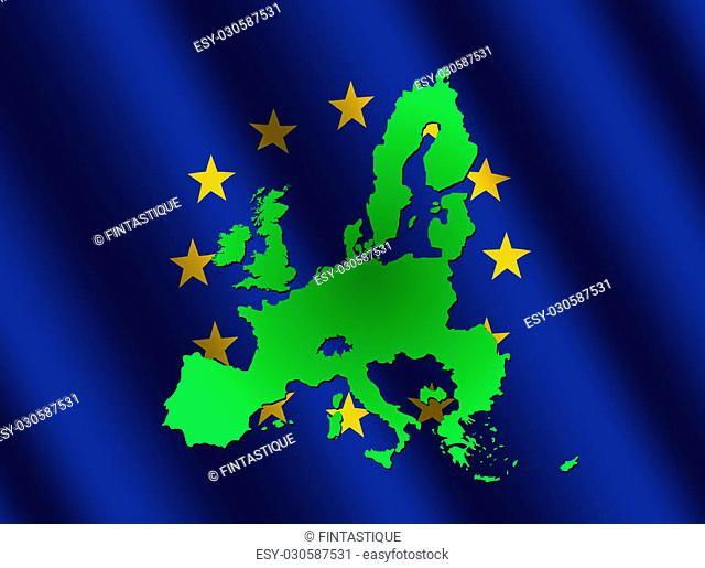 map of European union on rippled EU flag illustration