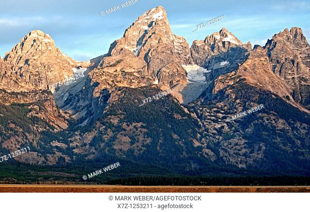 Tetons, sunrise on The Tetons from Glacier View Overlook at Grand Teton National Park in northern Wyoming