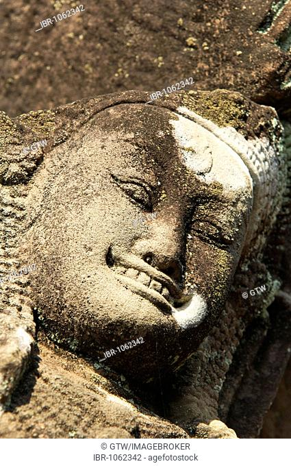 Face of a deity, Terrace of the Elephants, Angkor Thom, UNESCO World Heritage Site, Siem Reap, Cambodia, Southeast Asia