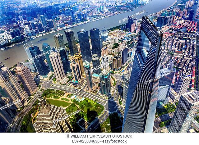 Looking Down on Black Shanghai World Financial Center SkyscraperJin Mao Tower Huangpu River Cityscape Liujiashui Financial District Shanghai China