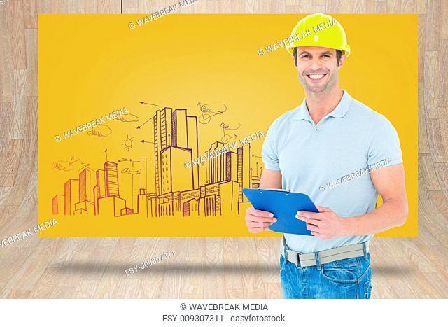 Composite image of happy architect holding clip board